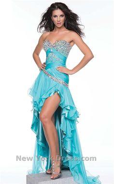 Blue high-low prom dress