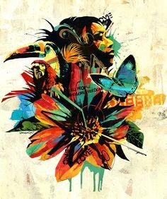 Dragon76 illustration #birds Rooster, Street Art, Dragon, Birds, Illustration, Rainbow, Animals, Inspiration, Colors