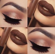 Best Ideas For Makeup Tutorials    Picture    Description  Brown lipstick and brown shimmer and gold eyeshadow makeup    - #Makeup https://glamfashion.net/beauty/make-up/best-ideas-for-makeup-tutorials-brown-lipstick-and-brown-shimmer-and-gold-eyeshadow-makeup/