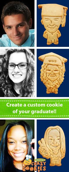 Looking for fun graduation party ideas? Make your graduation party one your graduate will never forget. Create custom cookies of your graduate! Parker's Crazy Cookies is the leader in unique edible party favors. Personalized Cookies, Custom Cookies, High School Graduation, Graduate School, Grad Parties, Birthday Parties, Theme Parties, 30th Birthday, Birthday Cakes