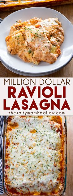 Million Dollar Ravioli Lasagna is the easiest and most flavorful baked ravioli you'll ever make! This comfort food lasagna casserole is a total crowd pleaser! comfort food Million Dollar Ravioli Lasagna Healthy Comfort Food, Best Comfort Food, Comfort Foods, Easy Comfort Food Recipes, Easy Recipes For Two, Italian Dishes, Italian Recipes, Cooking Recipes, Beef Recipes