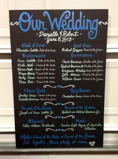 Pin now to find later!! Custom Hand-Painted 20x30 WEDDING PROGRAM poster board sign bridal party display on Etsy