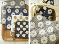 M's Room ポットマット Knit Or Crochet, Learn To Crochet, Knitting Needles, Hand Knitting, Crochet Potholders, Crochet Kitchen, Tapestry Crochet, Diy Accessories, Bead Weaving