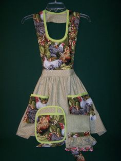 Designer French Country Rooster Apron Set by PossumSquatGeneralSt, $70.00