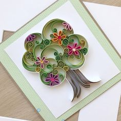 Quilling Spring Tree Card/ Summer card/ 3D Handmade Card/