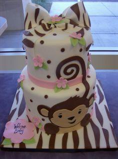 zebra monkey cake-