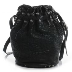 This is an authentic ALEXANDER WANG Leather Diego in Black.   This stylish bucket style bag is crafted of lovely textured leather.