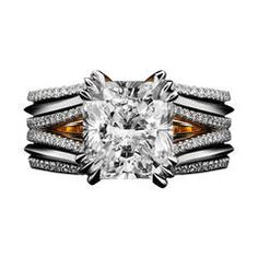 Double-Shank Floating Radiant-Cut Diamond Ring | From a unique collection of vintage bridal rings at https://www.1stdibs.com/jewelry/rings/bridal-rings/