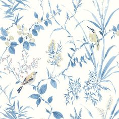 Invite the beauty of nature into your home with this blue botanical wallpaper. Its watercolor design features charming songbirds fluttering about leafy vines and flowers. Mariko is a paste the wall, non-woven wallpaper. Plant Wallpaper, Botanical Wallpaper, Wallpaper Roll, Chinese Wallpaper, Bathroom Wallpaper, Wall Wallpaper, Wallpaper Backgrounds, Sala Floral, Tartan Wallpaper
