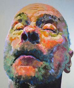 """Gehäuse IV"" - Hanjo Schmidt, acrylic on canvas, 2013; Germany {contemporary figurative #expressionist art male head colorful man face portrait impressionist texture painting #loveart} hanjoschmidt.com"