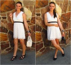 White Lace Dress - go from heels to flats!