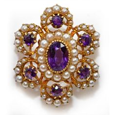 Boho Jewelry Chic Victorian Brooch with natural Pearls and seven Amethysts centrally set. The center stone is an oval-cut. ct faceted Amethysts framed with 55 fresh water split pearls in a handmade pierced 15 ct Gold mounting. Old Jewelry, Pearl Jewelry, Antique Jewelry, Jewelry Gifts, Vintage Jewelry, Fine Jewelry, Jewelry 2014, Craft Jewelry, Jewelry Making