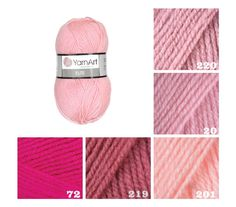 YarnArt ELITE pink pattern yarn knit acrylic от KnittingAndYarns