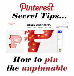 """Pinterest Secrets: How to Pin the Unpinnable"" -- This is how to pin embedded JavaScript images. Handy!!"