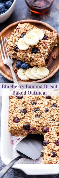 Easy and satisfying Blueberry Banana Bread Baked Oatmeal! Delicious right out of the oven and it makes great leftovers throughout the week.