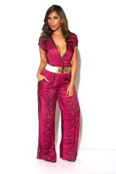 9fdf2d627a Sexy Magenta V-Neck Cocktail Party Jumpsuit