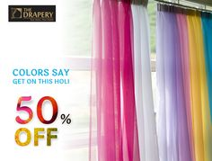 Fabulous Colorful Curtains for your Home on this colorful season, you should never lose this offer on Holi. Call now 5108886 Buy Curtains Online, Colorful Curtains, Drapery, House Colors, Holi, Shower, Home Decor, Rain Shower Heads, Decoration Home