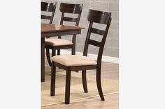 2 PC Casual Walnut Wood Dining Side Chairs Fabric Seat Coaster 104282