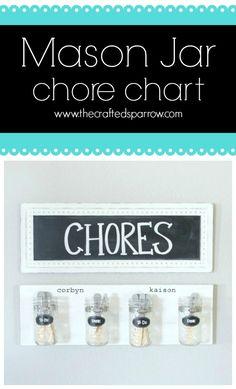 Mason Jar Chore Chart  thecraftedsparrrow.com