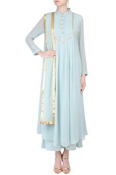 PRIYAM NARAYAN Pale blue mukaish work pleated kurta set with palazzo pants available only at Pernia's Pop Up Shop.