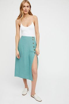 Free People Teal Midi Skirt with Buttons