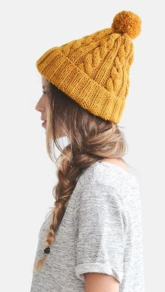 Hand Knit Beanie in Mustard Yellow, Cable Knit Womens Winter Hat with Pom Pom