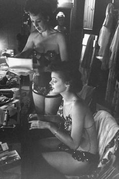"""Original caption for image in June 6, 1949, issue of LIFE: """"Gypsy dictates a letter to her secretary, Brandy Bryant, who doubles up by doing a strip bit in the show.""""    Read more: http://life.time.com/culture/gypsy-rose-lee-rare-photos-of-a-burlesque-legend/#ixzz2KXv5AOjs"""