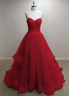 Pretty Handmade Tulle Red Sweetheart Long Prom Dresses,