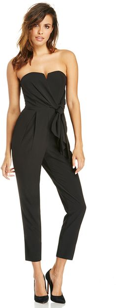 DAILYLOOK Strapless Sash Jumpsuit in black