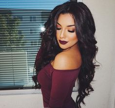 15 Stylish Long Hairstyles From the fairy tale Rapunzel to today, long, flowing locks make for an amazingly beautiful and stunning look. And if you have long flowing hair you have a Beauty Makeup, Hair Beauty, Dark Lips, Hair Color Dark, Dark Maroon Hair, Black Hair, Gorgeous Hair, Pretty Hairstyles, Makeup Inspiration