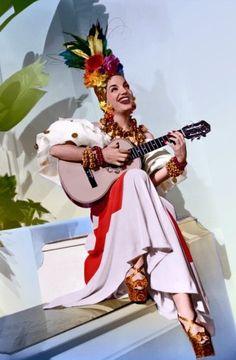 Carmen Miranda on the guitar!                                                                                                                                                     More