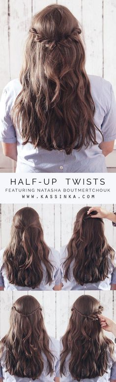 Half-up Twists Hair Tutorial on Medium Thick Hair