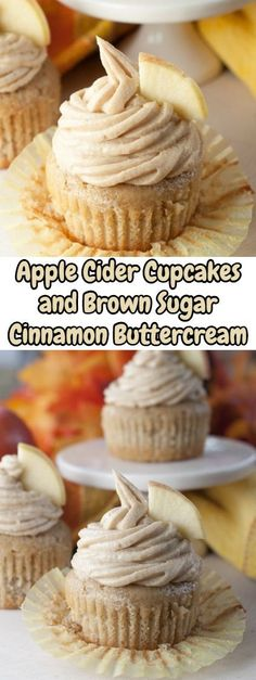 Moist and flavorful recipe for Apple Cider Cupcakes made from scratch with Brown. Moist and flavorful recipe for Apple Cider Cupcakes made from scratch with Brown Sugar Cinnamon Buttercream Frosting Mini Desserts, Apple Desserts, Fall Desserts, Apple Recipes, Just Desserts, Fall Recipes, Baking Recipes, Delicious Desserts, Yummy Food