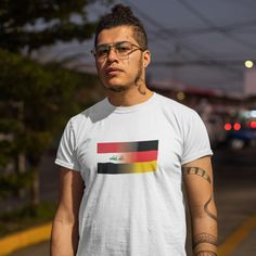 Men's Iraq and Germany Mixed Heritage Flag T/Shirt - 5XL / White