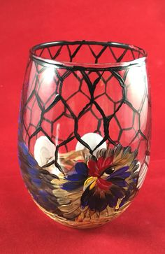 Little chicken country painted wine glass