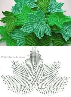 PICTURES ONLY - Crochet leaves (folhas), Irish Crochet leaves Snejana. crochet leaves - entire tutorial is here Crochet Leaf Patterns, Crochet Leaves, Crochet Motifs, Crochet Diagram, Freeform Crochet, Crochet Chart, Thread Crochet, Crochet Designs, Crochet Doilies