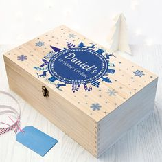 Personalised Christmas Eve Box With Snowflake Wreath - Blue - Large - Night Before Christmas Box - Children's - Xmas - FREE UK DELIVERY!