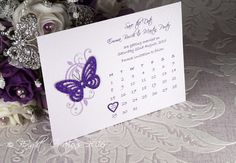 Butterfly & Floral Calendar Save the Date
