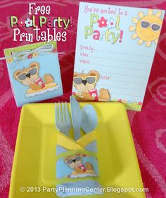 FREE Printable Pool Party Invitations, Gift Bags and Napkin Rings