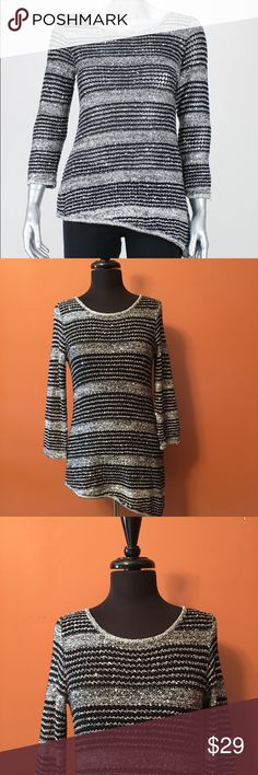 Black-Silver Sequin Sweater Tunic, Size Medium INC sequin striped tunic sweater, size med in good condition, pullover asymmetrical tunic style INC International Concepts Sweaters Crew & Scoop Necks