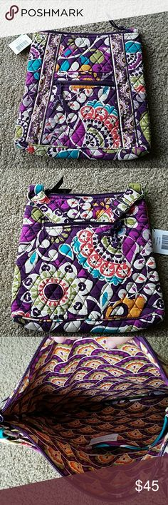 Vera Bradley Hipster Plum Crazy New, unused Vera Bradley. Tags attached. Two interior pockets, one exterior  (zipper closure on exterior pocket).  Adjustable shoulder strap. Vera Bradley Bags Shoulder Bags