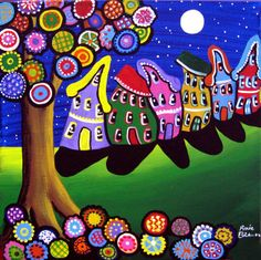 """Whimsical Houses and Trees"" by Renie Britenbucher, NE Ohio // Fun, slanting houses lean to and fro underneath a colorful tree and full moon. // Imagekind.com -- Buy stunning, museum-quality fine art prints, framed prints, and canvas prints directly from independent working artists and photographers."