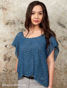 Cute summer top crochet pattern.  I think this may be in British crochet terms...