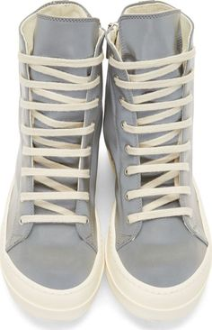 Rick Owens Drkshdw Silver Reflective High-Tops, $870.
