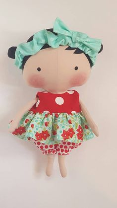 Tilda Sweetheart doll clothes red ruffled polka by LaShellesBelles