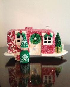 Glitter House Trailer, Glitter House, Putz, Holiday Decor, Christmas House, Putz House, Christmas Decor, Elf, Christmas Elf