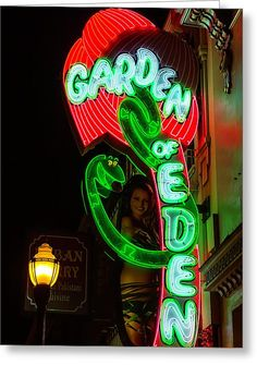 Neon Sign Garden Of Eden Greeting Card by Garry Gay