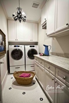 The laundry room doesn't have to be drab. Give it a touch of elegance with these decor ideas! www.cedarhillfarmhouse.com