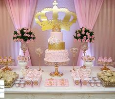 pink and gold party decoration Princess Theme, Baby Shower Princess, Princess Birthday, Baby Birthday, 1st Birthday Parties, Birthday Party Decorations, Pink Princess Party, Birthday Ideas, Baby Shower Parties