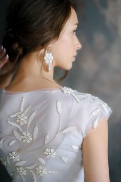 floral rich hand embroidery wedding dress OLEMA ethereal tulle bridal gown romantic open back silk wedding dresses bohemian ethereal bridal Wedding Dresses With Flowers, Lace Wedding Dress, One Shoulder Wedding Dress, Floral Wedding, Corset Wedding Gowns, Tulle Wedding, Diy Dress, Bridal Style, Wedding Styles